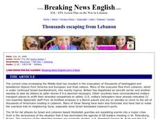 Breaking News English: Thousands Escaping from Lebanon Worksheet