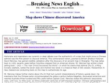 Breaking News English: Map Shows the Chinese Discovered America Worksheet