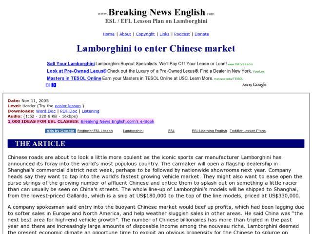 esl reading comprehension lamborghini to enter chinese market worksheet for 5th 8th grade. Black Bedroom Furniture Sets. Home Design Ideas