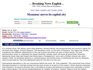 Breaking News English: Myanmar Moves its Capital City Worksheet