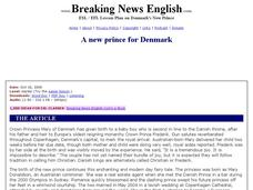 Breaking News English: A New Prince for Denmark Worksheet