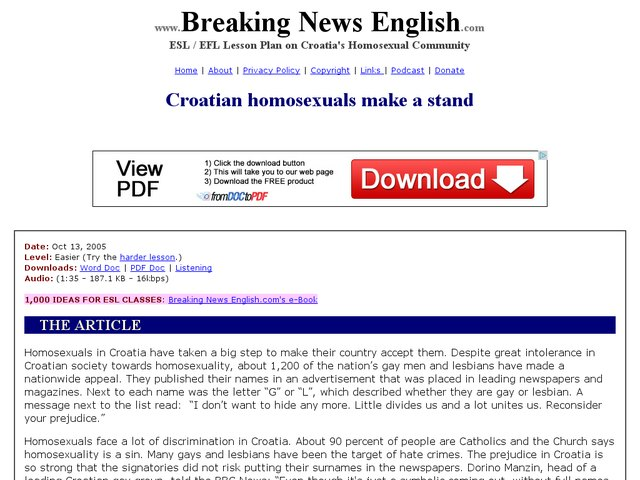 Breaking News English: Croation Homosexuals Make a Stand Worksheet