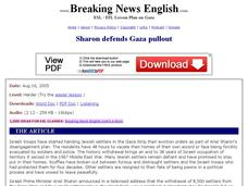 Breaking News English: Sharon Defends Gaza Pullout Worksheet