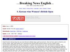 Breaking News English: South Korean Wins Women's British Open Worksheet