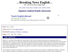Breaking News English: Japanese Student Bombs Classroom Worksheet