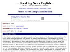 Breaking News English: France Rejects European Constitution Worksheet