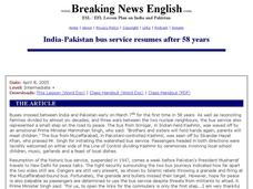 Breaking News English: India-Pakistan Bus Service Resumes after 58 Years Worksheet