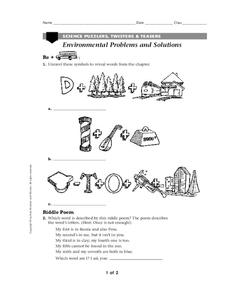 Environmental Problems and Solutions Worksheet