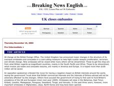 Breaking News English: UK Closes Embassies Worksheet
