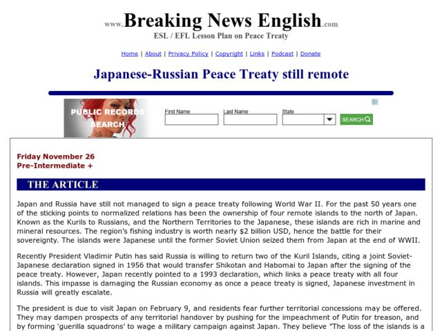 Breaking News English:  Japanese-Russian Peace Treaty Still Remote Worksheet