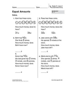 Equal Amounts Worksheet