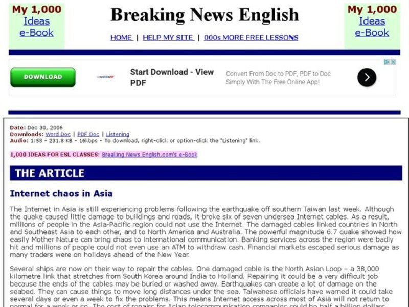 Breaking News English: Internet Chaos In Asia Interactive for 5th