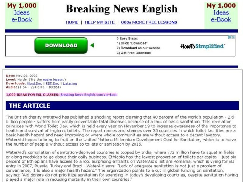 Breaking News English: World Toilets Interactive for 5th - 10th