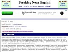 Breaking News English: United Nations Interactive