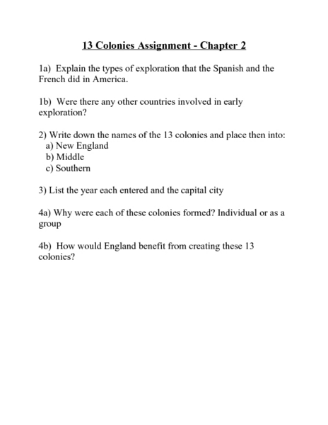 13 Colonies Assignment Worksheet For 5th 8th Grade