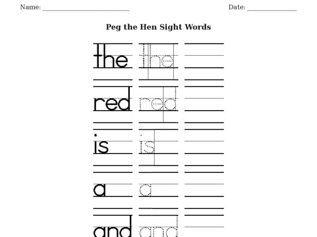 ESL Writing and Sight Words: