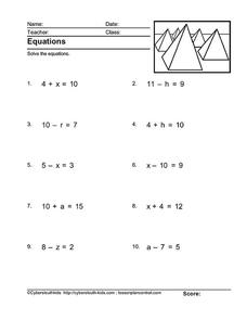 Equations Worksheet