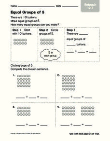Equal Groups of 5 Worksheet