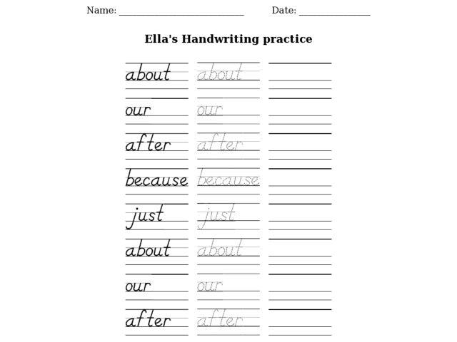 ella 39 s handwriting practice worksheet for kindergarten 3rd grade lesson planet. Black Bedroom Furniture Sets. Home Design Ideas