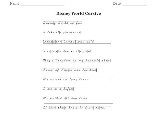 disney world cursive writing worksheet for 3rd 4th grade lesson planet. Black Bedroom Furniture Sets. Home Design Ideas