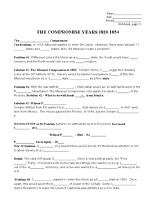 The Compromise Years Worksheet