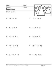 Equations 5 Worksheet