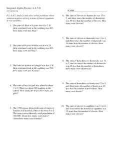 Integrated Algebra Practice: Systems of Linear Equation Word