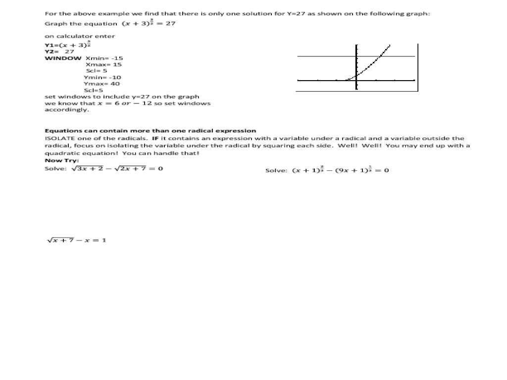 Solving Square Root and Other Radical Equations Worksheet ...