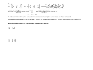 Determinants:  2x2 and 3x3 Matrices Worksheet