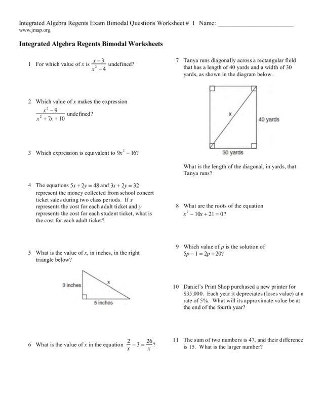 integrate algebra regents exam bimodal questions worksheet. Black Bedroom Furniture Sets. Home Design Ideas