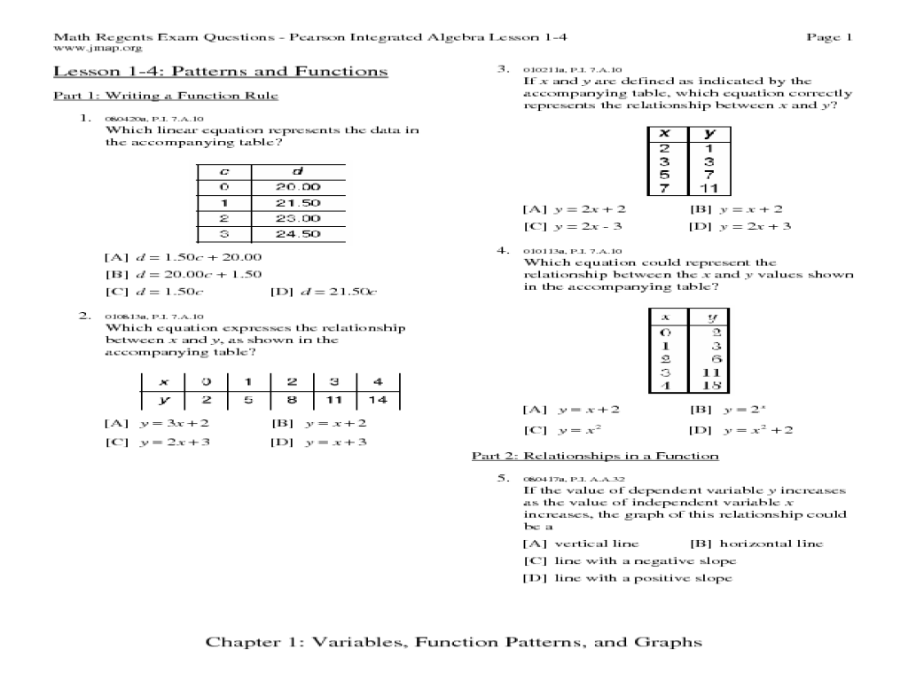 Writing a Function Rule Worksheet for 9th   11th Grade ...