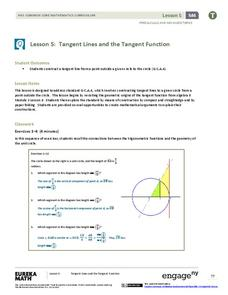 Tangent Lines and the Tangent Function Lesson Plan