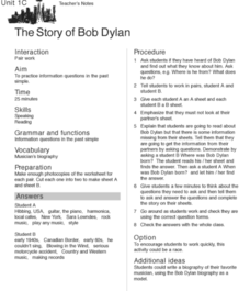 The Story of Bob Dylan Worksheet