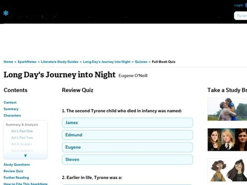 Long Day's Journey into Night Review Quiz Interactive