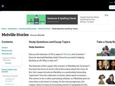 essay questions on bartleby the scrivener This 517 word essay is about bartleby, the scrivener, english-language films, bartleby, herman melville, scrivener, the piazza tales read the full essay now.