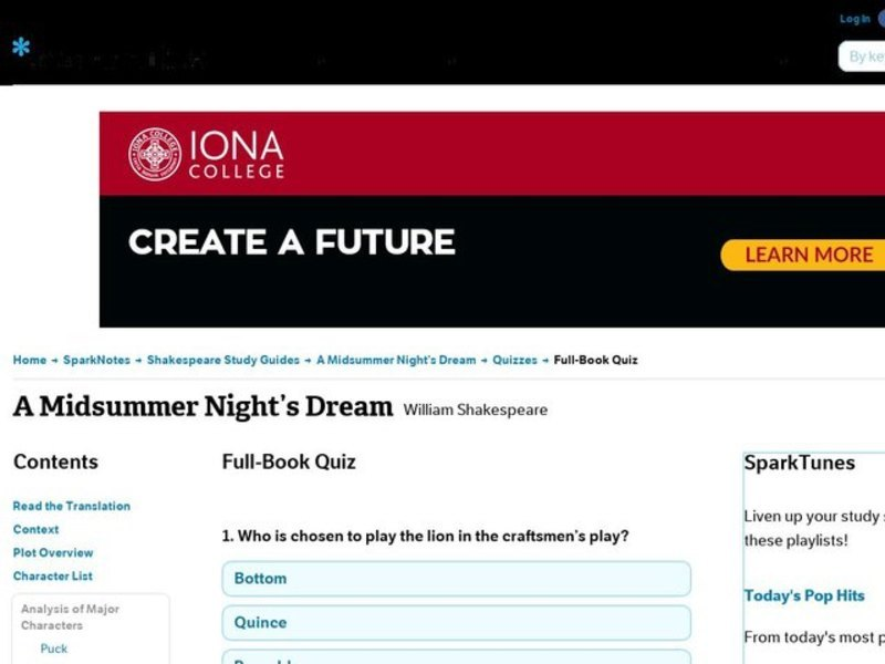 A Midsummer Night's Dream Quiz Interactive