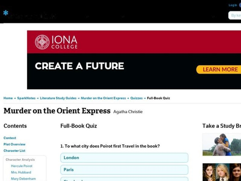 sparknotes murder on orient express
