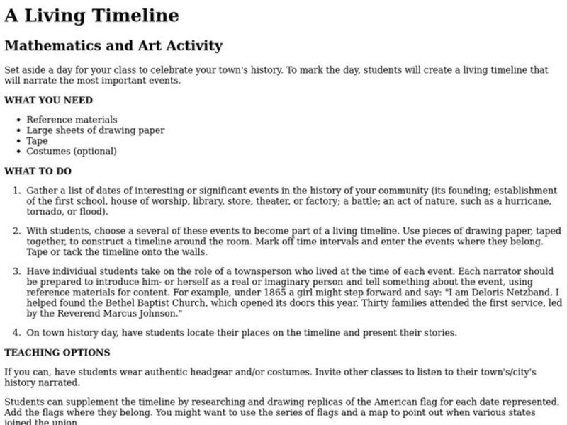 A Living Timeline Lesson Plan