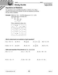Equations as Relations Worksheet