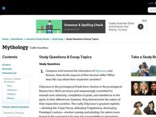 Mythology Study Questions & Essay Topics Interactive