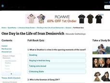 One Day in the Life of Ivan Denisovich Quiz Interactive