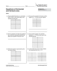 Equations of Horizontal and Vertical Lines Worksheet