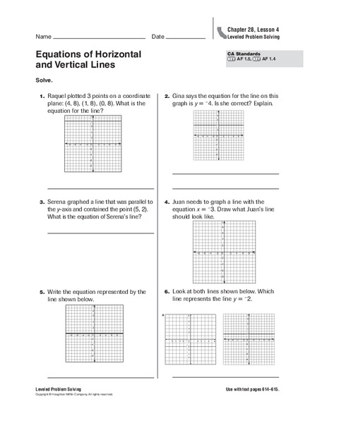 equations of horizontal and vertical lines worksheet for 5th grade
