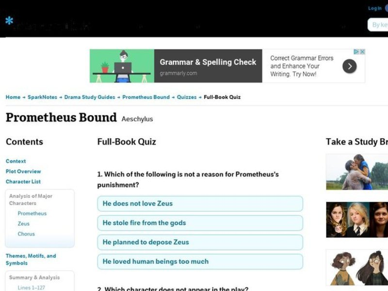 Prometheus Bound Quiz Interactive for 9th - Higher Ed | Lesson Planet