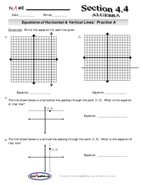 equations of horizontal and vertical lines lesson plan for 9th
