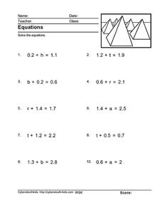 Equations With Decimals Worksheet