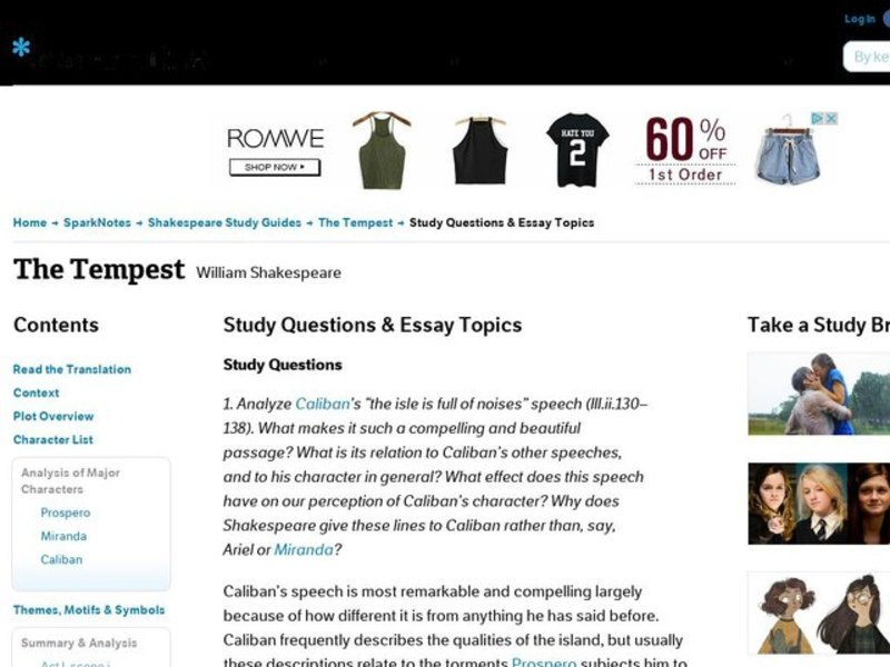 The Tempest Study Questions  Essay Topics Interactive For Th  The Tempest Study Questions  Essay Topics Interactive For Th  Higher Ed   Lesson Planet Essay About Science also Help Writing University Assignments  How To Write A Good Thesis Statement For An Essay