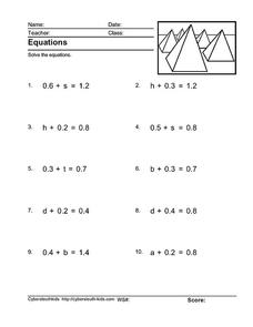 Equations: Decimals and 1 Variable Worksheet