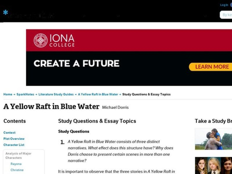 a yellow raft in blue water summary