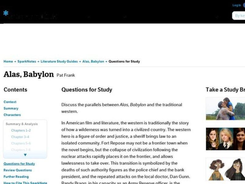 alas babylon character analysis